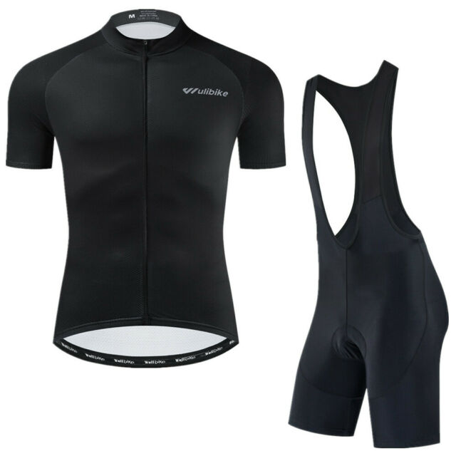 Mens Bike Cycling Shirt Riding Short Sleeve Jersey Bib Shorts Pad Tights Kit