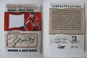 2009-10-ITG-Heroes-and-Prospects-SSA-TH-Taylor-Hall-1-6-number-auto-RC-Rookie