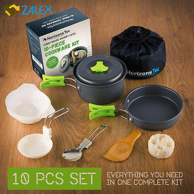 Outdoor Camping Hiking Backpacking Picnic Cookware Cook Cooking Pot Pan Bowl Set