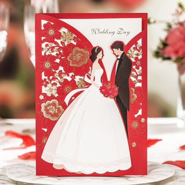Classic Red Bride and Groom Gold Shiny Flowers Wedding Invitations