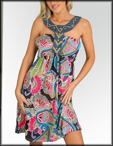 WOMENS DRESS Egyptian style halter beaded paisley Sun Summer print cotton S M L