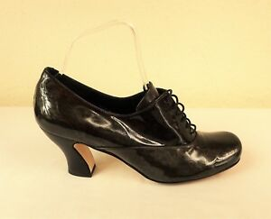 Audley Patent Shoe 40 Victorian Lace Quirky Dark Green Sz