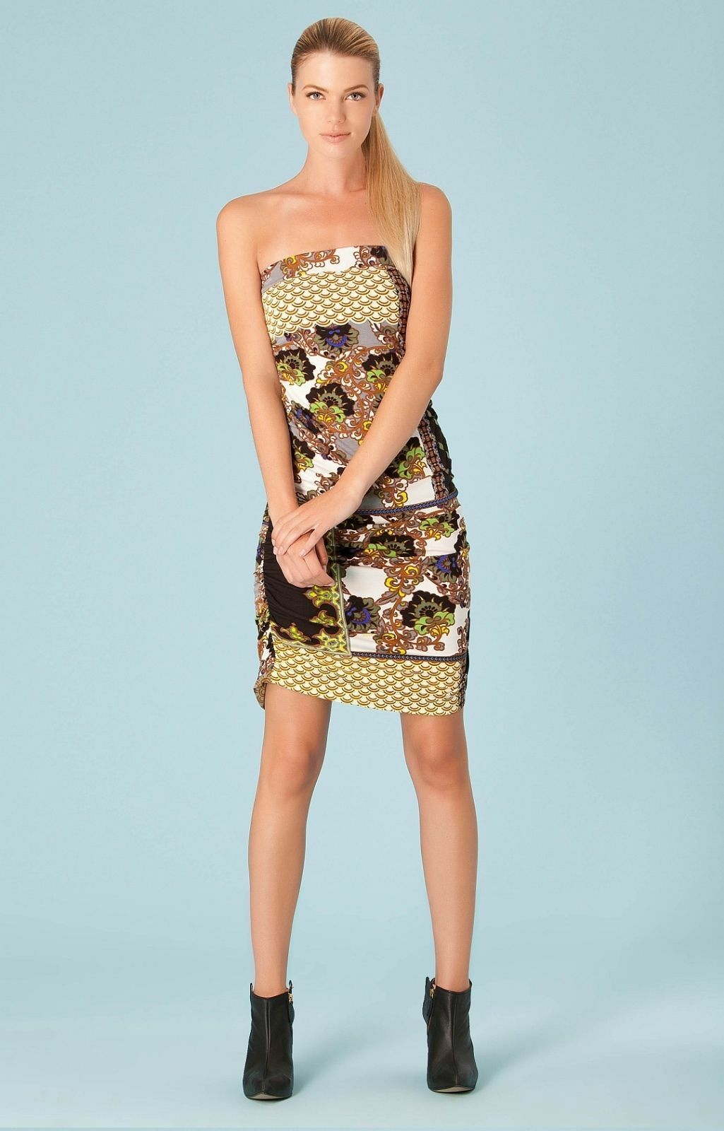Hale Bob Fitted Floral Mini Dress   Strapless S NWT 3CHN6193