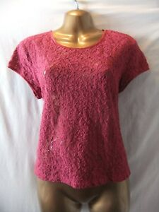 LADIES-NWT-H-amp-M-16-CLARET-LACE-CREPE-BACK-ZIP-BACK-NECK-CAP-SLEEVE-CASUAL-TOP
