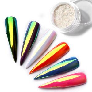 Aurora-Chrome-Effekt-Pigment-Einhorn-Holo-Nailart-Nageldesign-Kasten-Herz-Dekor
