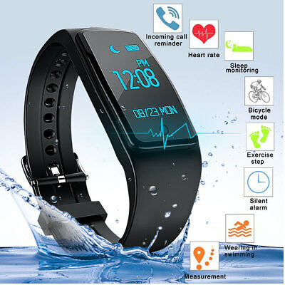IP67 Bluetooth Smart Bande Reloj Pulsera Inteligente Cardiaco Para Android IOS
