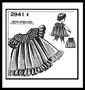 Pattern-SMOCKED-Gingham-DRESS-FROCK-BABY-Toddler-sz-1-2-3-GRIT-Mail-Order-2941
