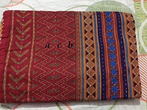 Ethnic Bedspread Ralli King SIze Vintage Kantha Quilt Indian Handmade Blanket.YZ