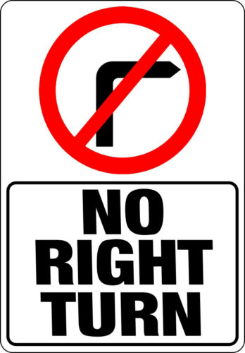 NOTICE caution private road farm entry safety warning NO RIGHT TURN Metal SIGN