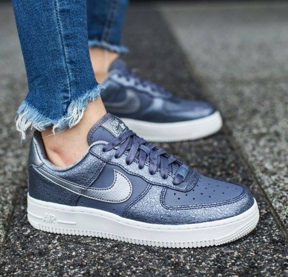 Nike AF1 Air Force One'07 PRM Gris Argent Cuir Blanc Baskets Hommes Femmes UK 5-