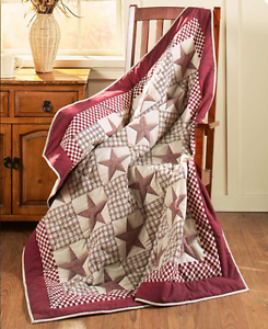 Image Is Loading Rustic Primitive  Quilted Throw Blanket Burgundy Star Country