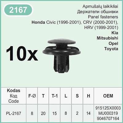 Honda Car Wheel Arch /& pare-chocs Garniture Moulage Rivet//cage TRIM CLIPS