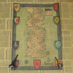 Game of thrones retro world map kraft paper movie poster vintage image is loading game of thrones retro world map kraft paper gumiabroncs Choice Image