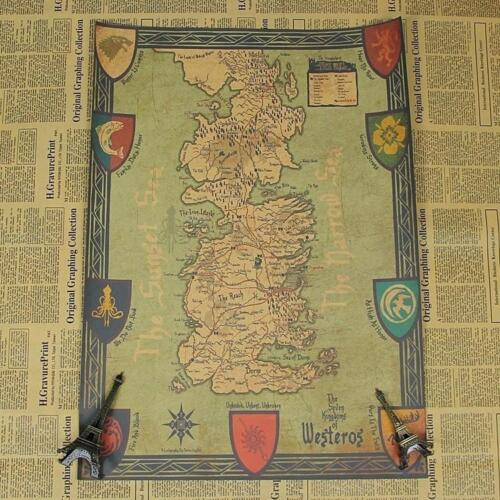 Game of thrones retro world map kraft paper movie poster vintage game of thrones retro world map kraft paper movie poster vintage wall art craft gumiabroncs Images
