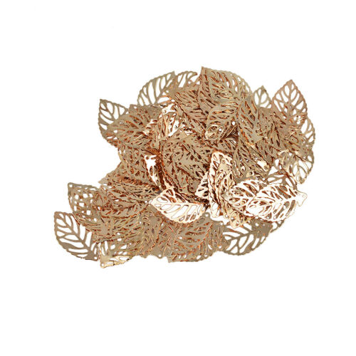 100pcs Wholesale Rose Gold Leaf Shape Pendants Charms For Jewelry Making