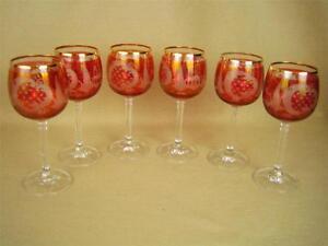 Vintage-Set-of-Six-German-Cranberry-Etched-Wine-Glass-Goblets