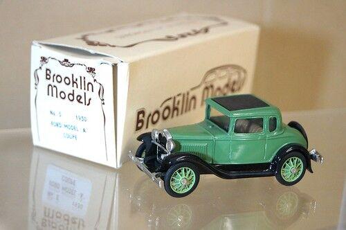 moda Brooklin modelos 5 1930 Ford Model A A A Coupe verde Negro Menta en caja Mq  garantizado
