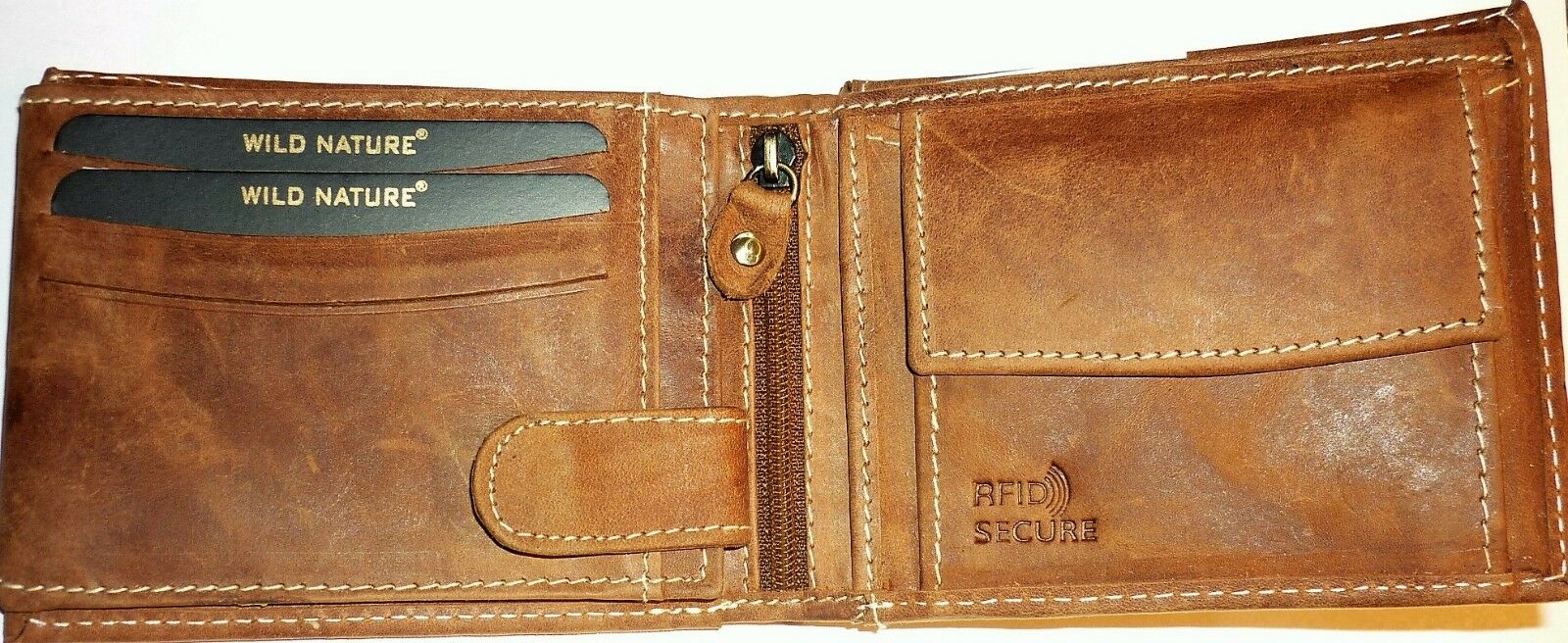+ Wild Nature Geldbörse aus Büffelleder RFID-Schutz Cognac D305A