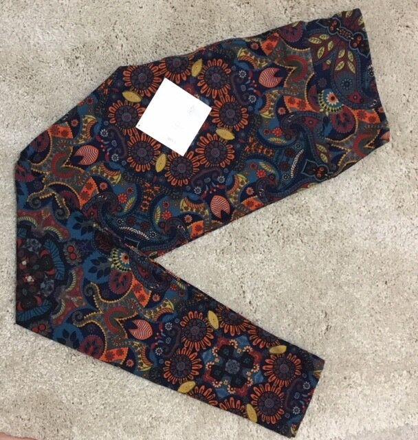 NWT LuLaRoe Leggings  TC  PAISLEY FLORAL bluee Teal orange  UNICORN - HTF