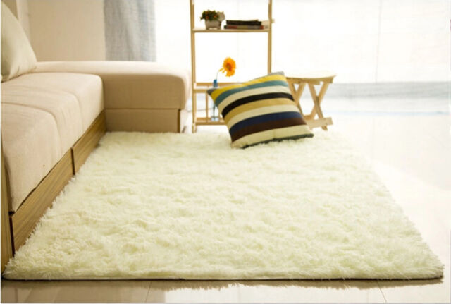 Fluffy Rugs Anti Skid Shaggy Area Rug Home Room Bedroom Carpet