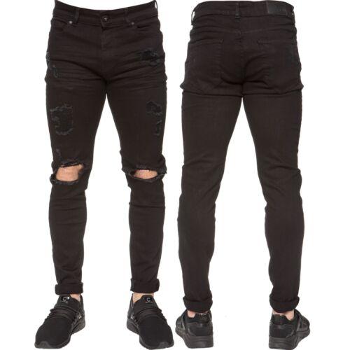 NUOVI Enzo Da Uomo Super Skinny Jeans Stretch Strappato Denim Pants Pantaloni Tutti Girovita