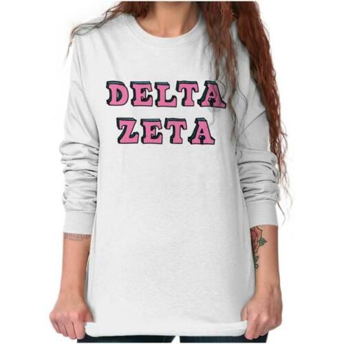 Licensed Sorority Fashion Delta Zeta Greek DZ Long Sleeve T-Shirts Tee For Women