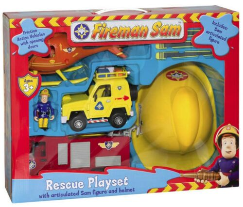 FIREMAN SAM RESCUE Playset Toy Casque Fire Engine Hélicoptère Véhicule /& Figure