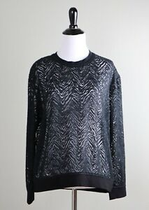 THE-KOOPLES-240-Sheer-Lace-Chevron-Stretch-Trim-Top-Size-Small