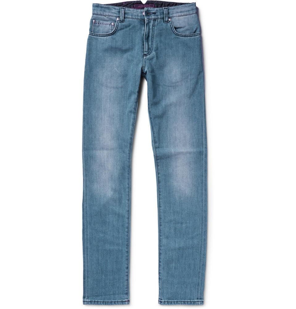Isaia da Uomo Slim Fit cimosa Stretch Denim Jeans Sz 34R NUOVO CON ETICHETTA