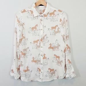 ZARA-Womens-Unicorn-Print-Blouse-Shirt-Top-Size-XS-or-AU-8-US-4