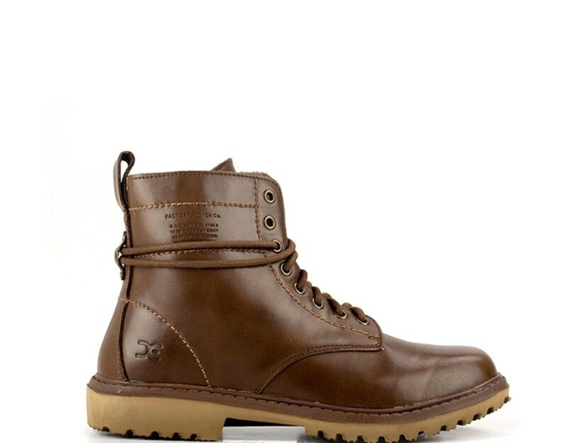 shoes HEY DUDE Man Desert boots BROWN Leather natural POWER-BUT
