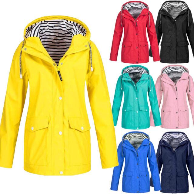 2e3db0a98 Plus Size Womens Rain Mac Wind Waterproof Jacket Ladies Hooded Outdoor Rain  Coat