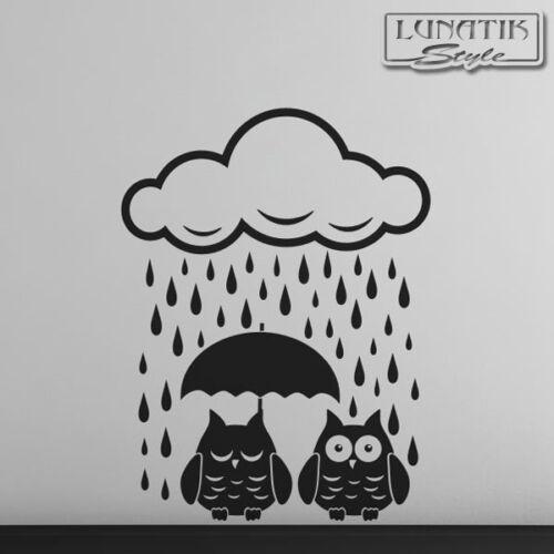 Wandtattoo Eule 2 Eulen im Regen mit Regenschirm und Wolke WE58