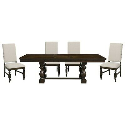 Rustic Country 5 Pc Style Dining Table, White Parsons Chairs Dining Room