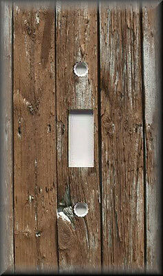Light Switch Plate Cover - Home Decor - Rustic - Image Of Brown Wood Planks