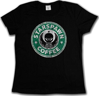 STARSPAWN COFFEE DAMEN T-SHIRT Arkham Lovecraft Marsh Miskatonic Spawn Cthulhu