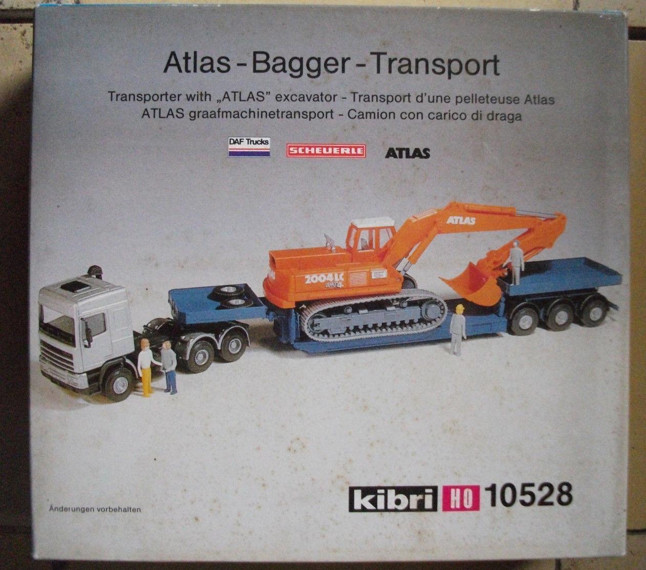 KIBRI 10528 h0 1 87 DAF Scheuerle Atlas Excavateurs-transport RARE