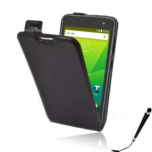 the latest 9790b 63b08 Black Leather Flip Card wallet Case Cover Telstra 4GX HD / ZTE Blade A475 +