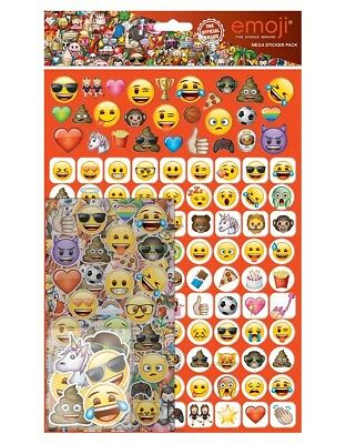 Official Emoji Smilies Kids Fun Foiled Stickers Reusable 28 Pack Decoration Play
