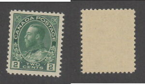 MNH Canada 2c Yellow Green KGV Admiral Stamp, Wet Printing #107 (Lot #19929)