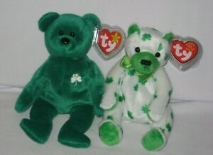 Ty Beanie Baby - Erin and Clover the St. Patrick's Day Irish Bears -  MWMT