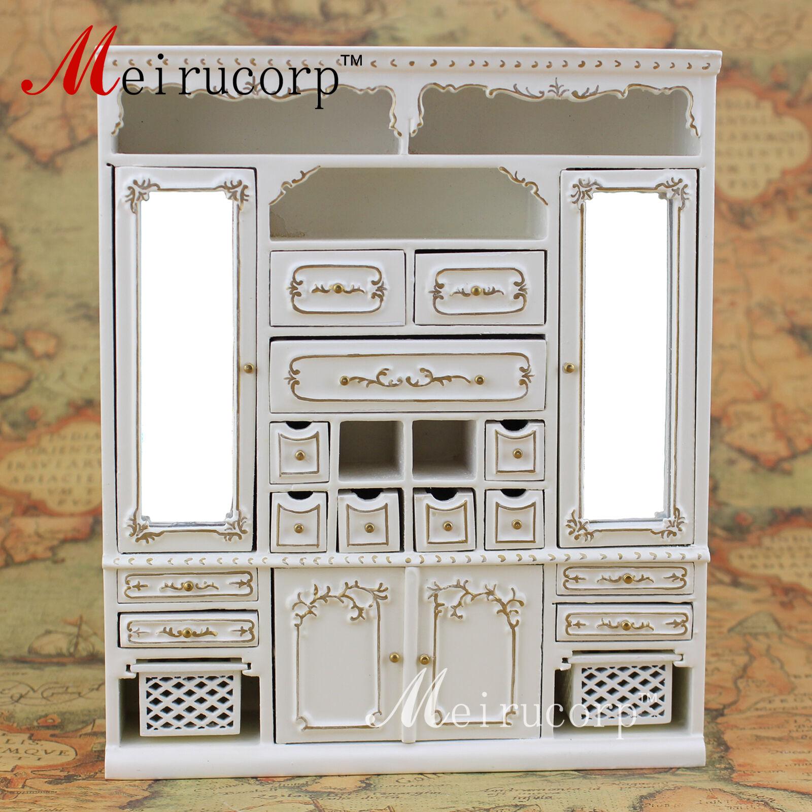 Casa de muñecas en miniatura muebles de escala 1 12 de alta calidad hecho a mano Dorado principal del gabinete
