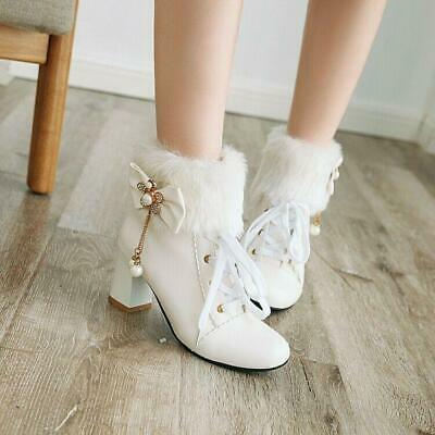 Details about  /Winter Women Fur Furry Round Toe Metal Decor Ankle Boot Pumps High Heels YHU19
