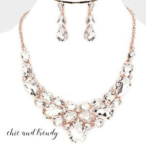 ca55e56089 HIGH QUALITY CLEAR GLASS CRYSTAL, ROSE GOLD FORMAL CHUNKY NECKLACE ...
