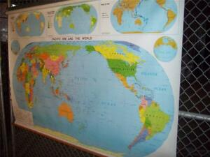 Details about LARGE Nystrom Pacific Rim/World Map, Nystrom #1AP98 83