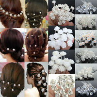 40/20Pcs Wedding Bridal Pearl Flower Crystal Hair Pins Clips Bridesmaid Jewelry