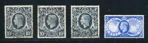 GB KING GEORGE 6TH 10 SHILLING VARIETIES