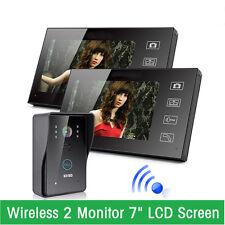 "2-Monitor 7"" Wireless Video Doorbell Intercom IR Door Phone Camera Night Vision"