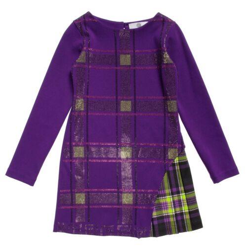 Young Versace Girls Purple Tartan Glitter Dress BNWT