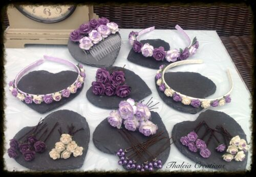 PURPLE//LILAC//IVORY ROSE FLOWER WEDDING HAIR ACCESSORIES*Aliceband*Comb*Pin*Grips